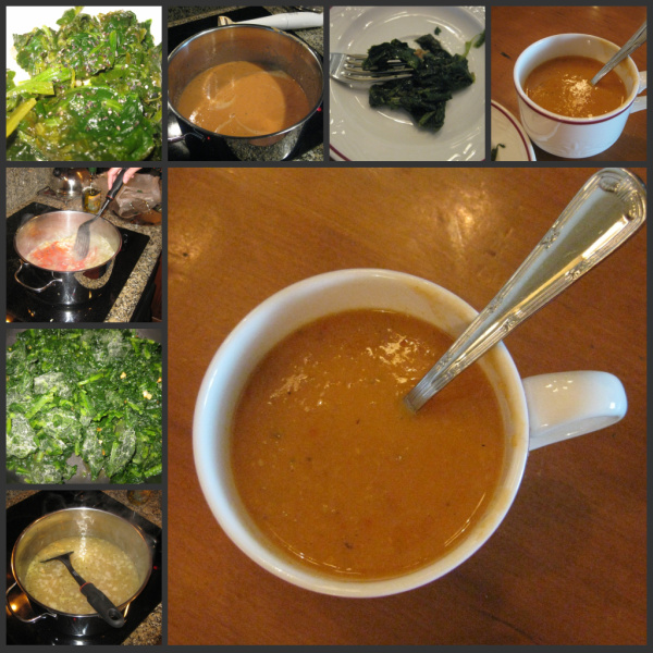 Chickpea and Roasted Pepper soup with blanched greens