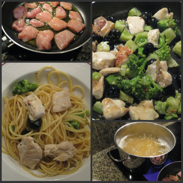 Day four dinner of creamy pasta, chicken, broccoli and olives