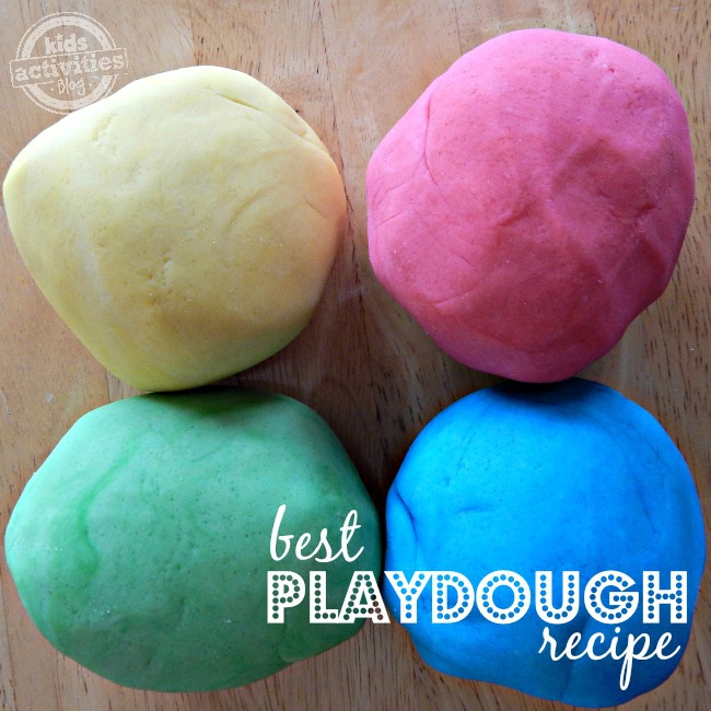 How to make playdough using the best playdough recipe! You can make 4 big balls of yellow playdough, red, green, and blue playdough.