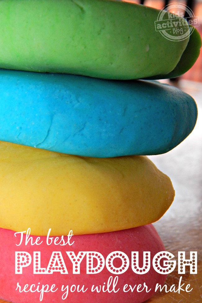 The best playdough recipe you will ever make! You can make green, blue, yellow, and red DIY playdough.