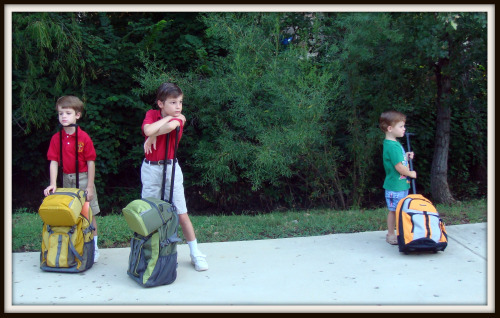 3 boys with 3 backpacks