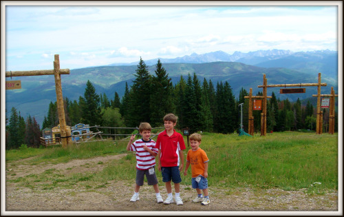 Three boys at the top of Beaver Creek Mountain in summer