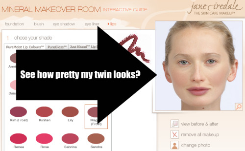 Jane Iredale Mineral Makeover Room lip selection
