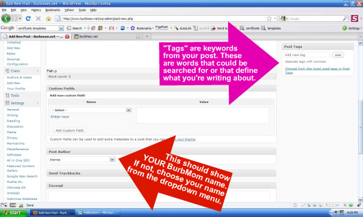 Adding tags and authorship to a post in WordPress 3