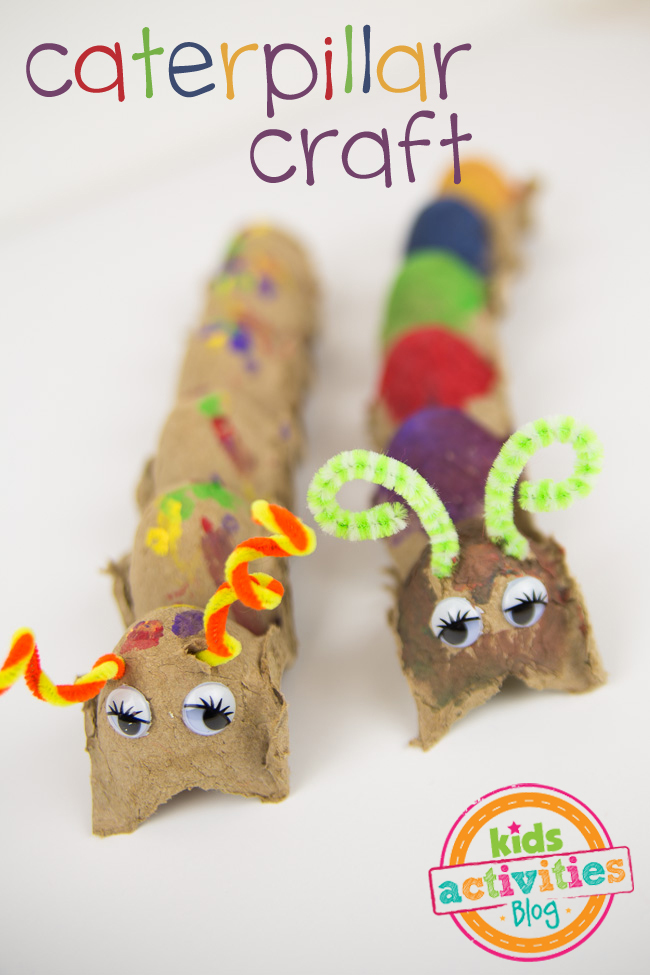 caterpillar crafts for preschooler makes a fun craft to add to preschool homeschool curriculum for fine motor skills - shown is a egg carton caterpillar