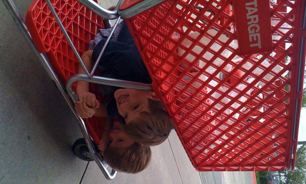 Target cart - Rhett and Reid riding below