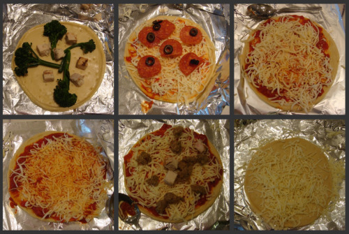 six pizzas made by kids