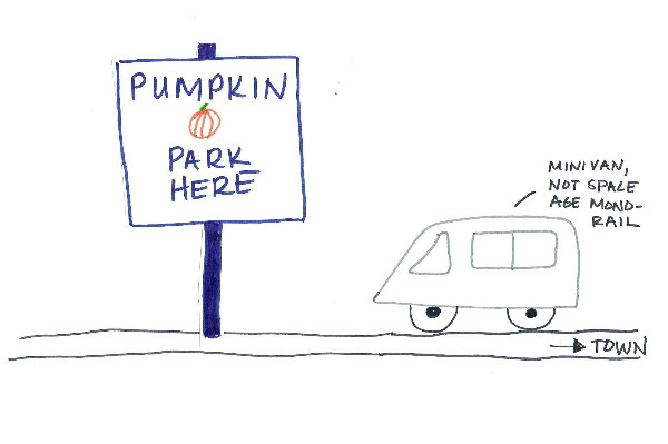 Pumpkin Park with minivan in Flower Mound, Texas