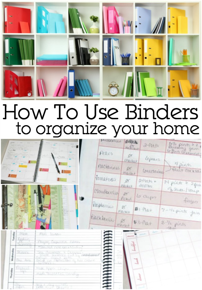 how to use binders to organize your home