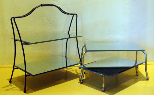 Platter stands with mirrors as plates