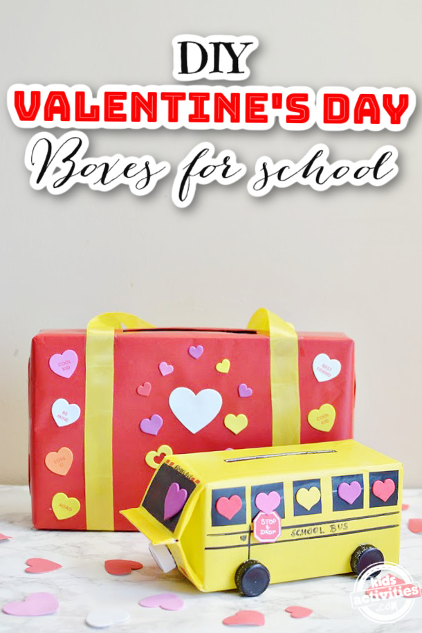 DIY Valentines Day Boxes for School - Valentine Mail boxes you can make at home or in the classroom to collect Valentines