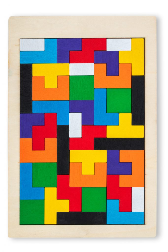 Math games and puzzles for preschoolers - Kids Activities Blog - wooden tetris shown