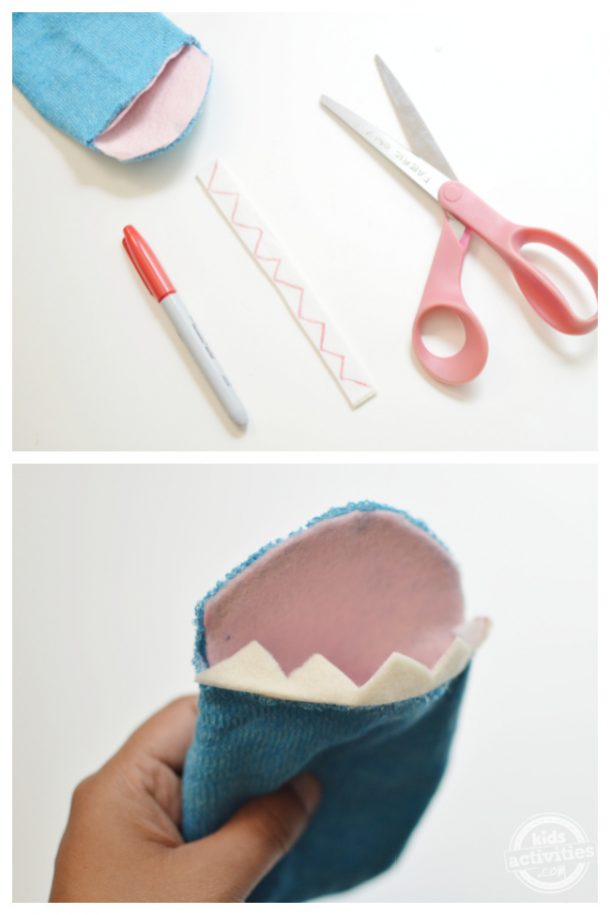 A zig zag pattern is made onto a piece of white felt for shark's teeth to make the shark sock puppet