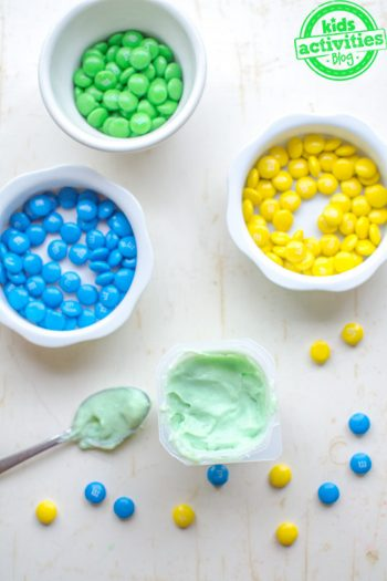 yellow plus blue equals green snack for kids