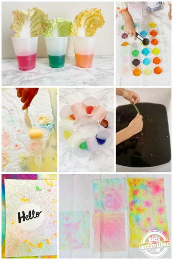 collage of things to do with leftover dye during easter