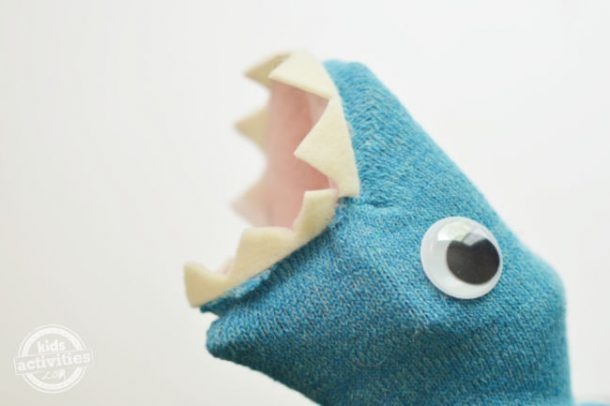 The big reveal of shark puppet toy