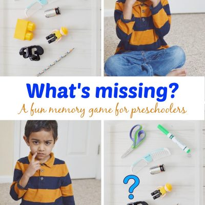 A picture of items shown to kids for playing what's missing game and a toddler closing his eyes during his turn and a picture of toddler thinking what is missing