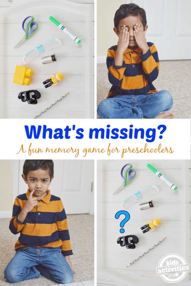 What's missing? A fun memory game for preschoolers that needs no prep.