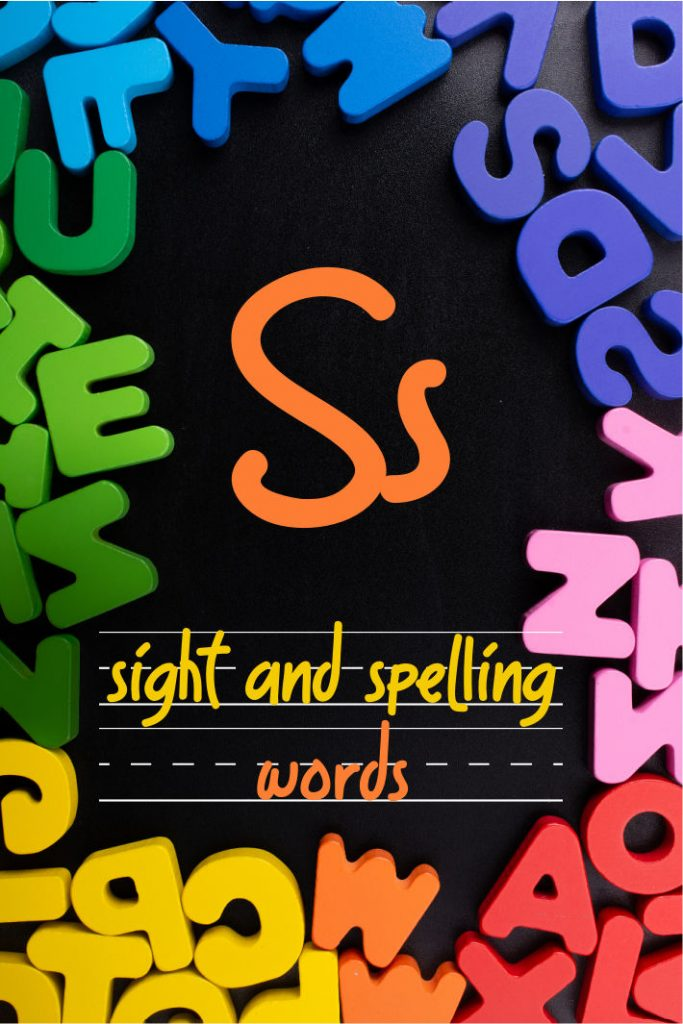 Letter S Sight and Spelling Word List - Kids Activities Blog