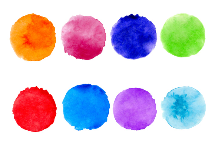 Watercolor paint circles - painting with homemade watercolor paint - Kids Activities Blog - 8 watercolor colors shown