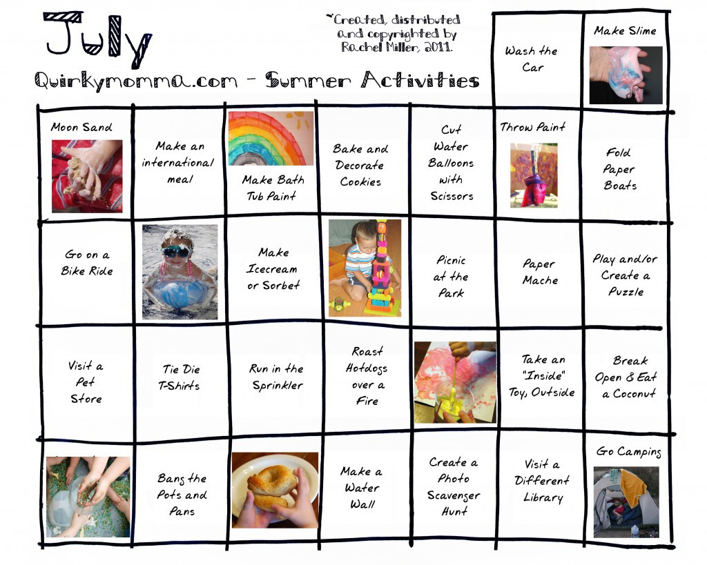 Summer Activity Calendar July