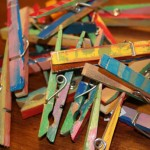 colorful clothes pins Preschool painting