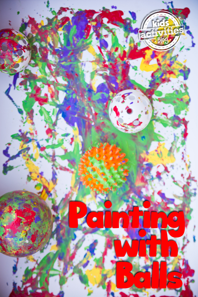 Painting With Balls - ball art project for toddlers preschoolers and kids of all ages - colorful painting with multiple balls