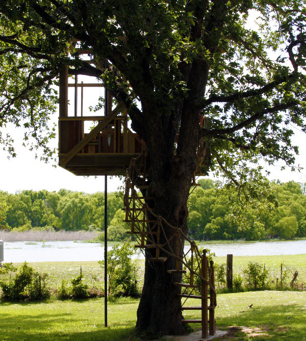 tree house with spiral stairs and a platform