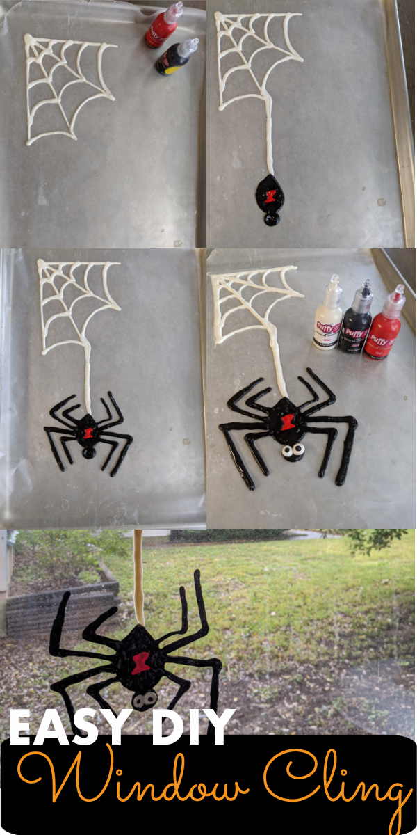easy home made window cling made out of puff paint in the shape of a spider and web