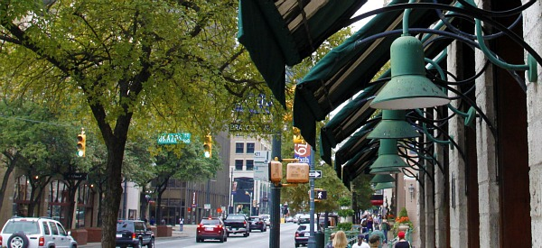 Austin Texas 6th street lights and awnings