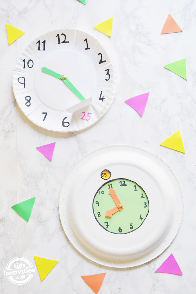 DIY Paper plate clock to teach time to your little ones