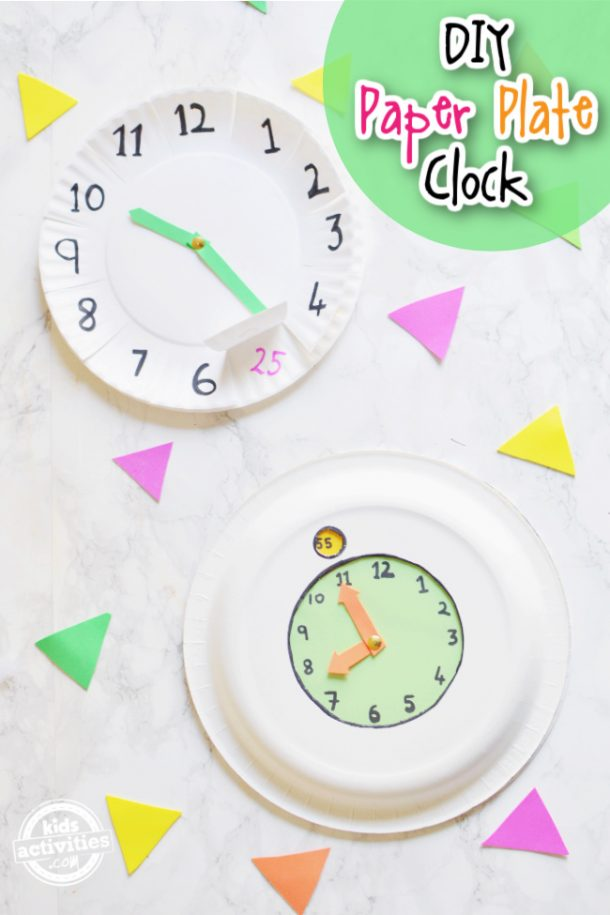 two types of paper plate clock for preschool kids