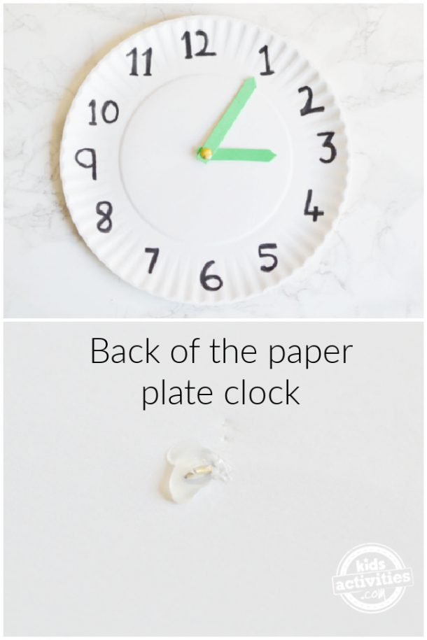 How the paper plate clock looks at front and back after attaching the clock hands