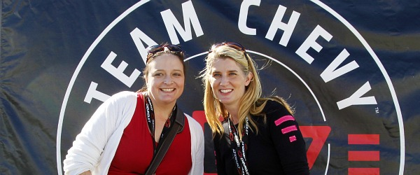 andie smith and holly homer at team chevy display at texas motor speedway