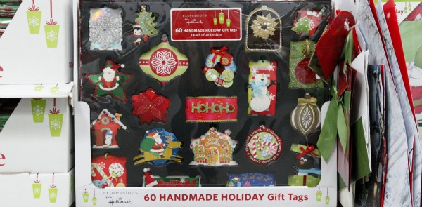 handmade holiday gift tags on shelf at Sam's Club