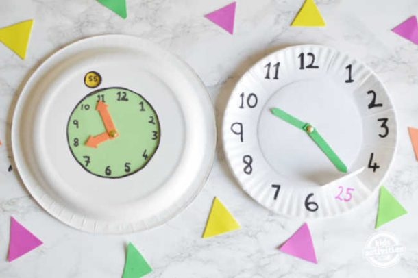 Two different paper clock for preschool kids to teach time