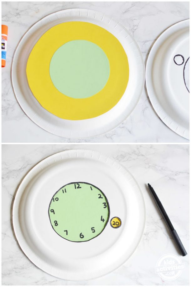 glue the cardstock and use markers to write clock numbers and minutes