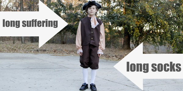 long suffering fourth grader in colonist costume with long socks