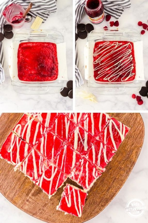 Collage of white chocolate cheesecake bars getting jam on the top with a white chocolate drizzle.