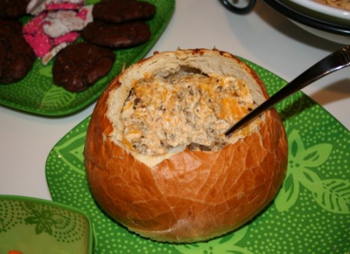 sausage and cheese dip in bread bowl