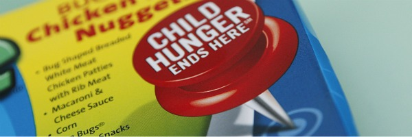 child hunger ends here push pin on ConAgra food item