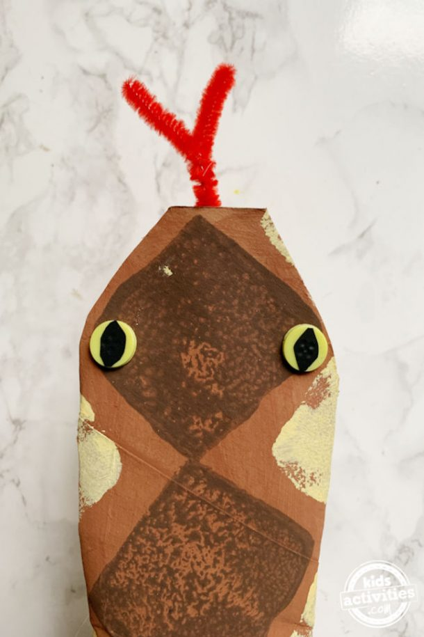 paper snake craft with close up of snake's head