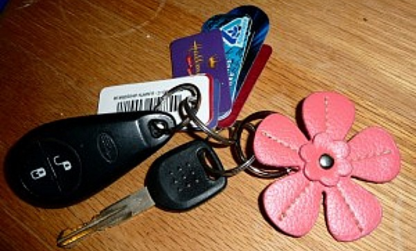 key chain with pink flower