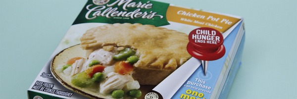 marie callenders chicken pot pie with child hunger ends here push pin
