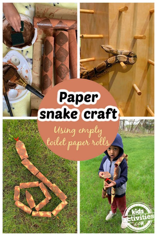 Collage of paper snake ,step by set instructions, real snake picture and a toddler wearing a paper snake