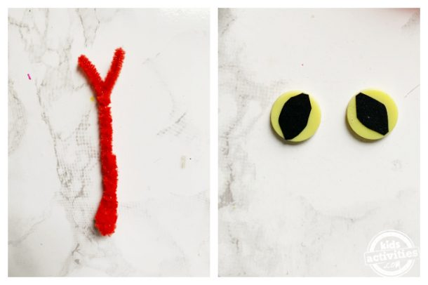 Make snake tongue and snake eyes using pipe cleaner and yellow buttons for paper snake craft