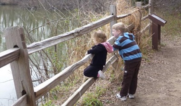 2 kids looking through wooden fence 600x350