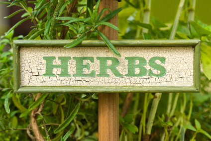 herbs wooden sign green letters
