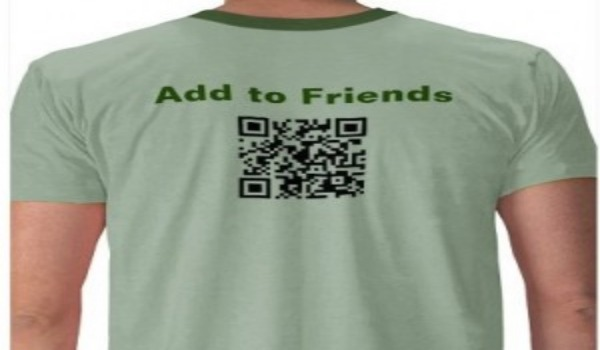 green tshirt with qr code and add to friends text