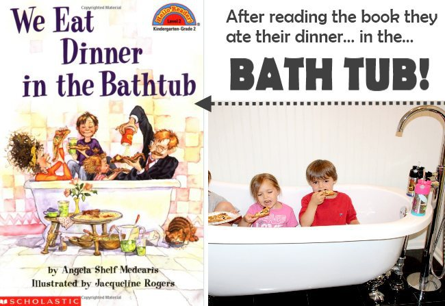 Fun and wacky family activity - they ate dinner in the tub.  Bet there was no mess :)